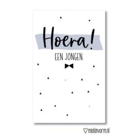 Mini kaart | Hoera! een jongen