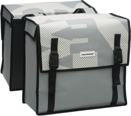 Dubbele Fietstas New Looxs Bisonyl Basic  White Grey 46 Liter