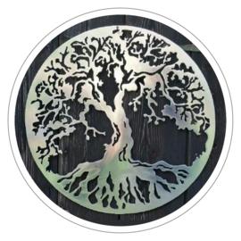 Muurdecoratie Levensboom metaal zilverlook (47 cm)