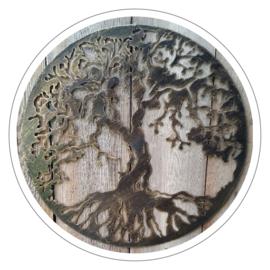 Muurdecoratie Levensboom metaal antieklook (47 cm)