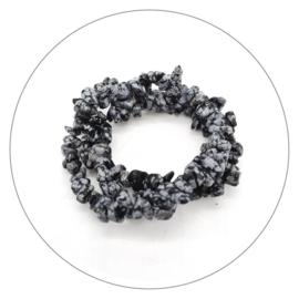 Edelsteen splitarmband Obsidiaan sneeuwvlok