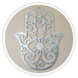 Muurdecoratie Hamsa hand metaal zilverlook (50 x 60 cm)