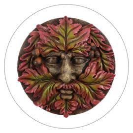 Muurdecoratie Green Man rond (18 cm)