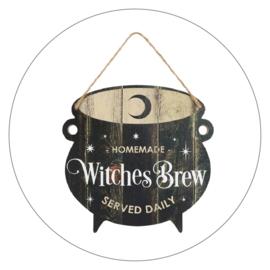 Muurdecoratie bord Witches Brew hout (35 x 25 cm)