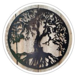 Muurdecoratie Levensboom metaal zwart (47 cm)