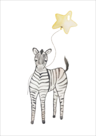 Zebra met Ballon - kaart