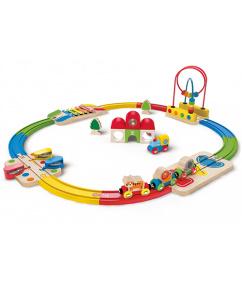 houten regenboog treinrails & Station set