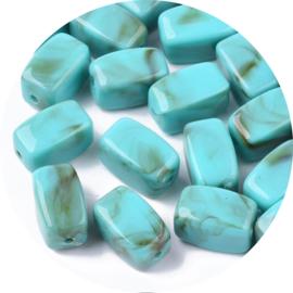 Kralen kunststof turquoise marble 10st