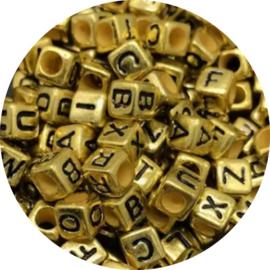 Letterkralen kubus goud 500st