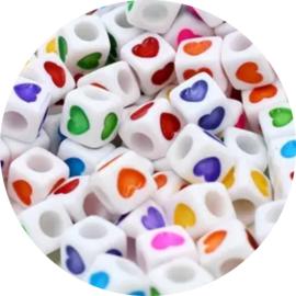 Letter hartjes kubus rainbow