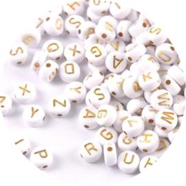 Letterkralen wit met goud 100st