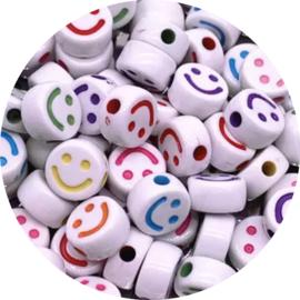 Kralen smiley white rainbow 10st