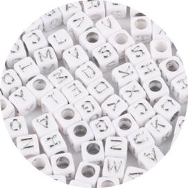 Letterkralen kubus silver 100st