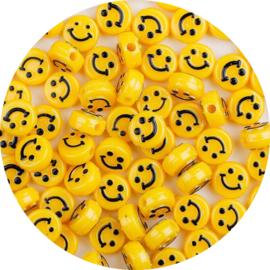 Kralen smiley geel 10st