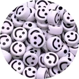 Kralen smiley white 10st