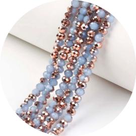 Glaskralen Facet copper blue 90st