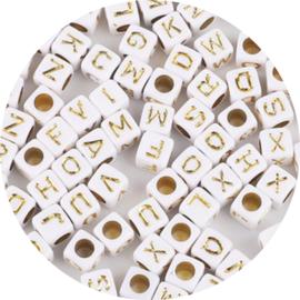 Letterkralen kubus gold 100st