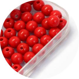 Kralen red acryl 50st
