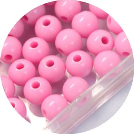 Kralen pink acryl 50st