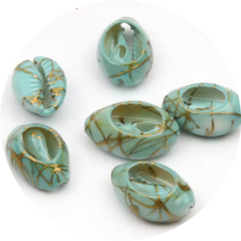 Kauri schelp Greenblue-gold