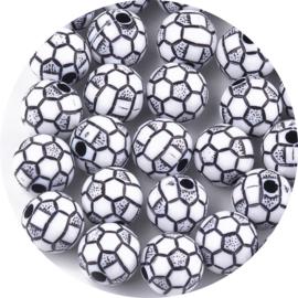 Kralen Voetbal zwart-wit 15st