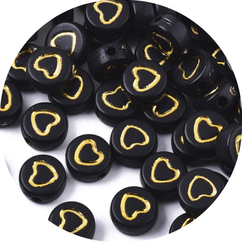 Letter hartjes open goud-zwart 25st