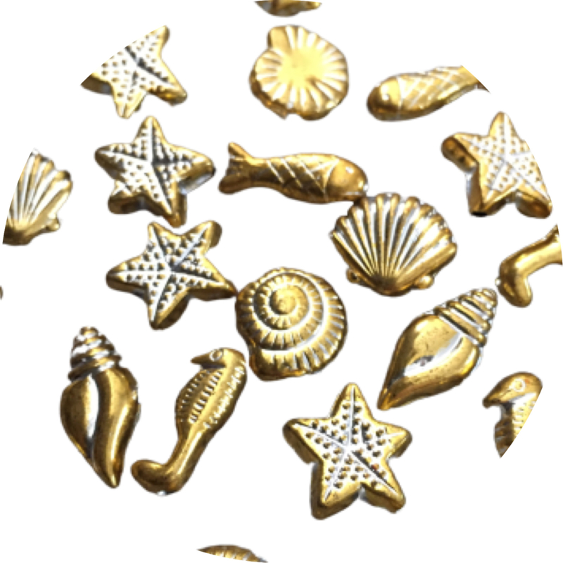 Sea mix plated acryl gold 15st
