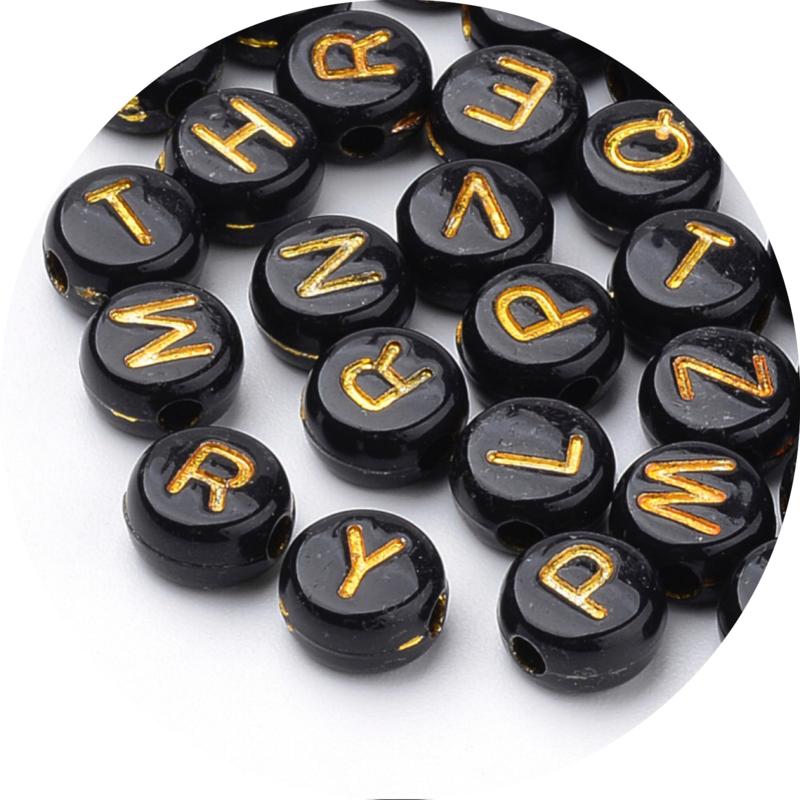 Letterkralen zwart met goud 100st