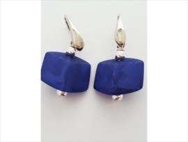 Cube oorbellen kobalt