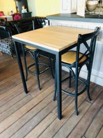 Sta-tafel met massief eiken blad - 40 x 40 x 100 (BxLxH)