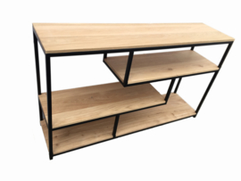 Side table Deluxe met massief eiken top platen - 140 x 35 x 72 cm (LxBxH)