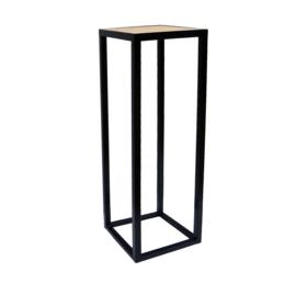 GM Metallsäule mit Eichen Holz Platte - 30 x 30 x 110  cm (BxTxH)