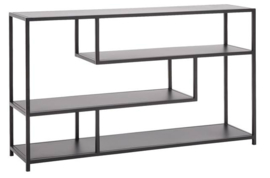 Metalen side table Deluxe met massief eiken top - 140 x 35 x 80 cm (BxLxH)