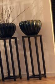 GM metalen zuil met eiken plaat, 4 cm pootjes - 35 x 35 x 100 cm (BxLxH)