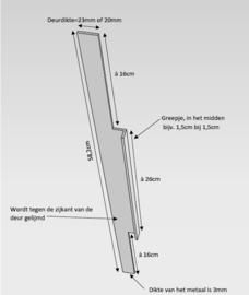 Strip met handvat 2 mm, dik volgens tekening