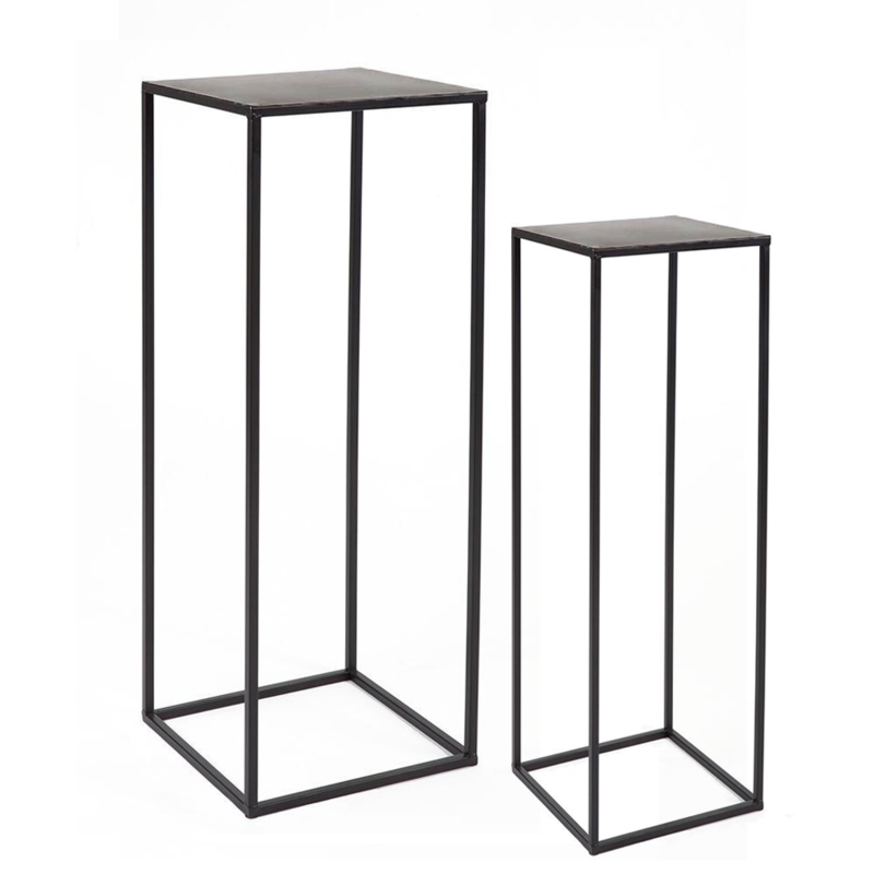 SET Metalen zuil Black Serie - 35x35x110cm & 30x30x80cm (BxLxH)