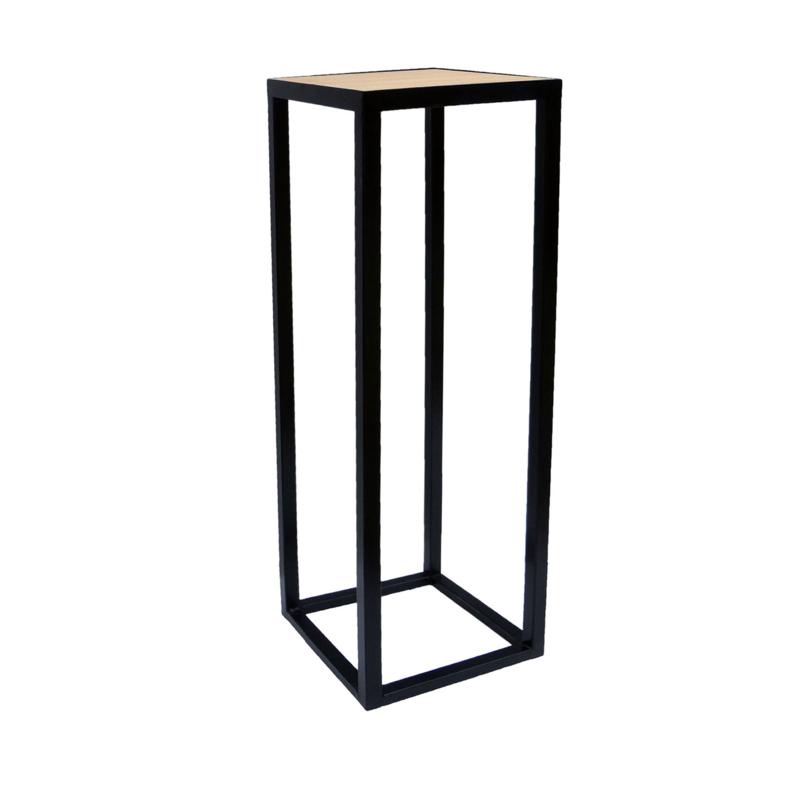 GM Metallsäule mit Eichen Holz Platte - 30 x 30 x 100 cm (BxTxH)