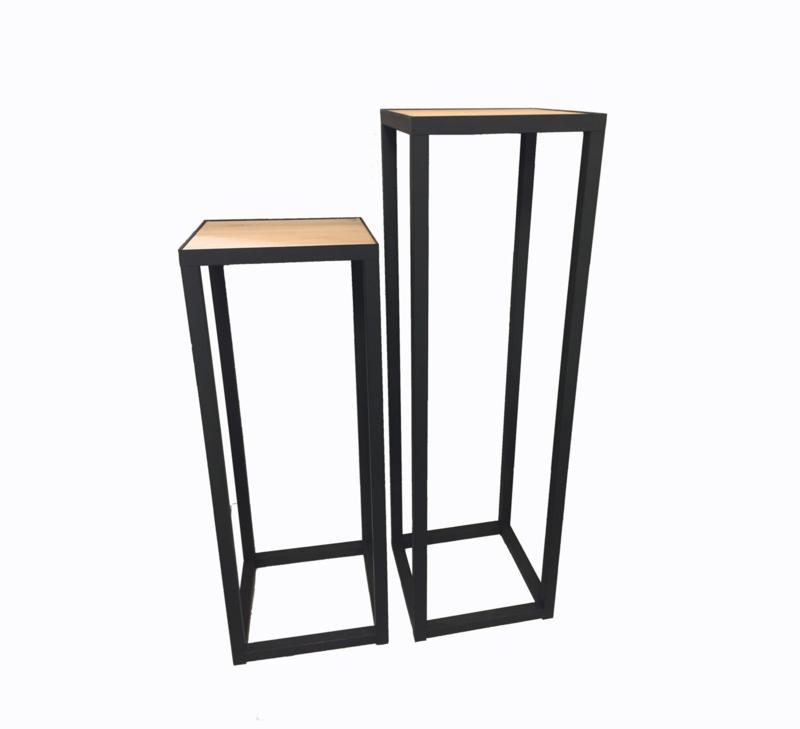 GM SET Metallsäule mit Eichen Holz Platte - 30 x 30 x 80 & 100 cm (BxTxH)