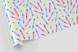 Kado/kaftpapier | krijtjes, 5 vellen
