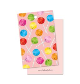 Kadolabel | patroon lolly's, roze