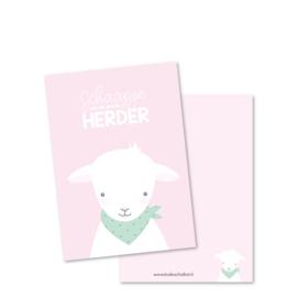Kaart A6   schaapje van de goede Herder, roze