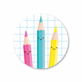 5 Stickers | kleurpotloden, ruit