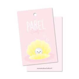 Kadolabel | parel in Gods hand, roze