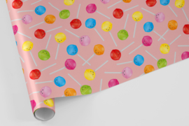 Kado/kaftpapier | lolly's, roze, 5 vellen