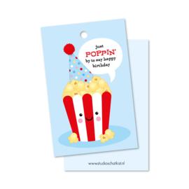 Kadolabel | just poppin' by to say happy birthday (blauw)