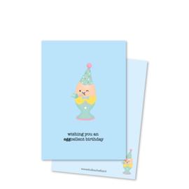 Kaart A6 | wishing you an eggcellent birthday *