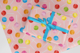 Kado/kaftpapier | lolly's, roze, per stuk verpakt
