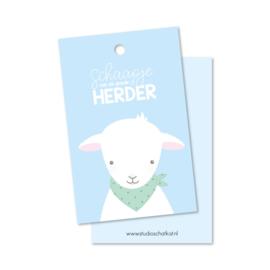 Kadolabel | schaapje van de goede Herder, blauw
