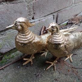 Tafelstukken 2 vergulde fazanten