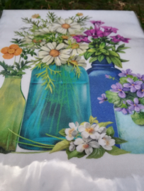 Mary Jake Thompson Flour Sack keukendoek bloemen in flessen